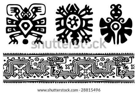 Fantastic animals and birds of Aztecs - stock vector