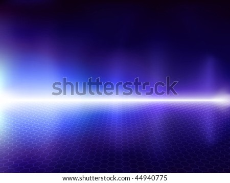 Fantastic blue computer background with hexagonal mesh - stock vector