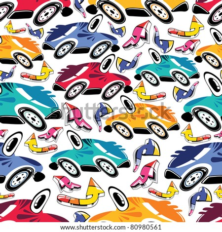 Fantastic cars - seamless pattern - stock vector