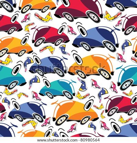 Fantastic cars - seamless pattern - stock vector