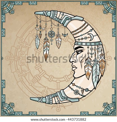 Fantastic crescent with a human face. Esoteric symbol, boho design. Indian motives. Magic circle, frame from iron elements. Background imitation of old paper. Vector color illustration. - stock vector