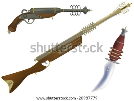 fantastic fire and other weapon of the future and from films - stock vector