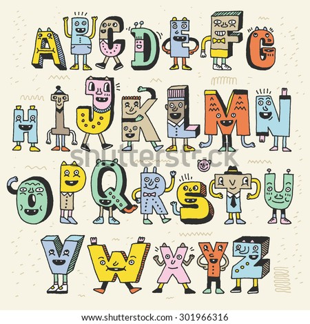 Fantastic Funny Alphabet. Wacky Doodle Letters Design Color Set. Vector Hand Drawn Illustration.  - stock vector
