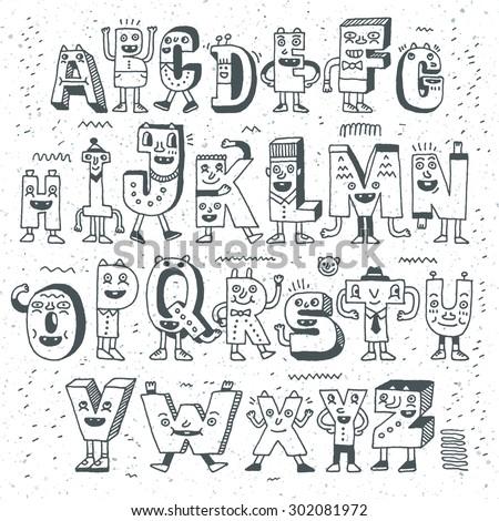 Fantastic Funny Alphabet. Wacky Doodle Letters Design Set. Vector Hand Drawn Illustration.  - stock vector