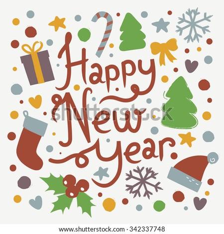 Fantastic Happy New Year Card Vector Stock Vector Royalty Free