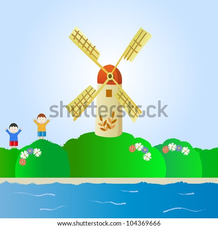 fantastic landscape with windmill and children - stock vector