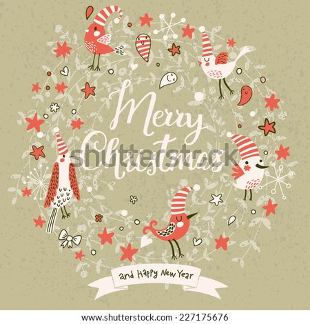 Fantastic Merry Christmas card in vector. Cute stylish birds on Merry Christmas text on vintage background - stock vector