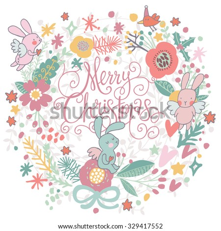 Fantastic Merry Christmas card in vector. Sweet rabbits angels in flowers on Merry Christmas text in light pastel colors. Lovely holiday background. Could be used as a Valentines day card - stock vector