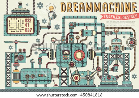 Fantastic steampunk machine in vintage style. Interweaving pipe units, pressure gauges, devices, components. Retro texture on a separate layer. - stock vector