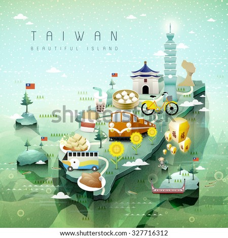 fantastic Taiwan attractions and dishes travel map in 3d isometric style