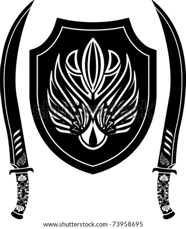 fantasy arabian shield and swords. stencil. vector illustration