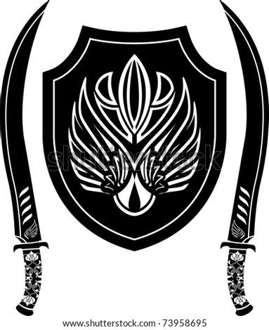 fantasy arabian shield and swords. stencil. vector illustration - stock vector
