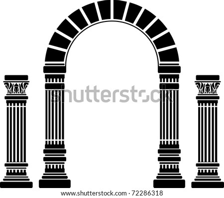 fantasy arch and columns. stencil. first variant. vector illustration - stock vector