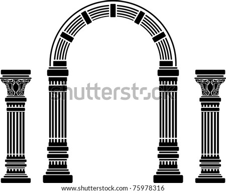 fantasy arch and columns. stencil. fourth variant - stock vector