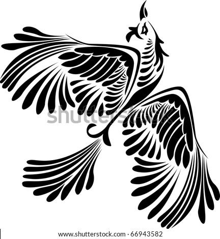 Fantasy bird stencil - stock vector