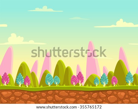 Fantasy cartoon landscape, seamless nature background for game design, layered vector illustration for parallax effect - stock vector