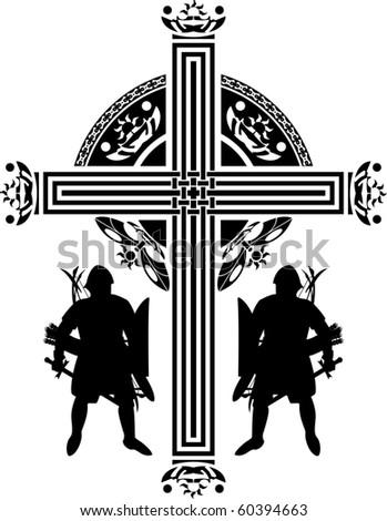 fantasy crusaders cross. first variant. vector illustration - stock vector