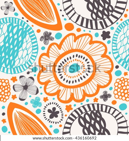Fantasy decorative pattern in scandinavian style. Abstract background with stylized flowers - stock vector