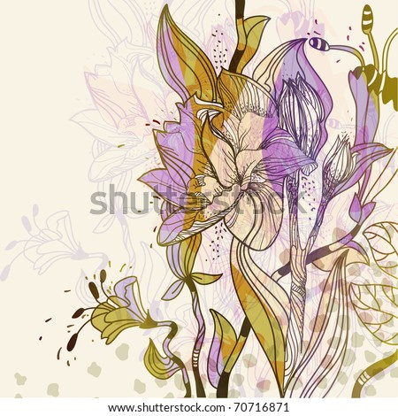 fantasy field of blooming flowers and plants - stock vector