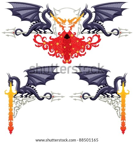 Fantasy Floral Borders: Fantasy floral ornaments with dragons, flames and a devil. No transparency and gradients used. - stock vector