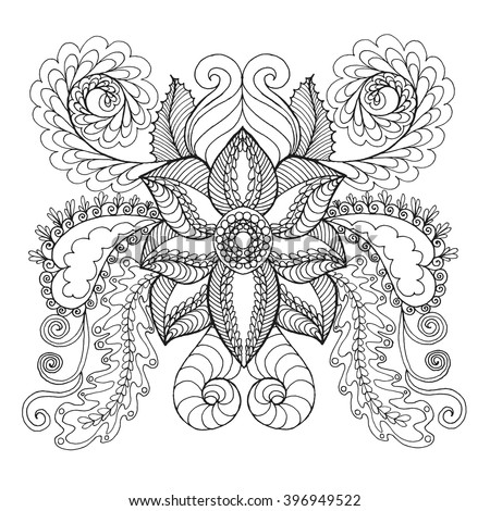 Fantasy flowers coloring page. Hand drawn doodle. Floral patterned vector illustration. African, indian, totem, tribal, zentangle design. Sketch for colouring page, tattoo, poster, print, t-shirt - stock vector