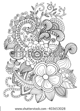 Fantasy Flowers Coloring Page Hand