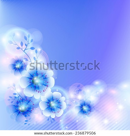 Fantasy flowers on a blue background  - stock vector