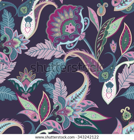 Fantasy flowers seamless paisley pattern. Floral ornament  on dark background for fabric, textile, cards, wrapping paper, wallpaper template.Ornamental bright motif - stock vector