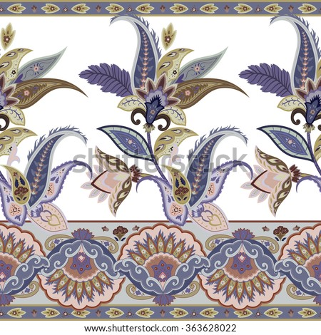 Fantasy flowers seamless paisley pattern. Wrapping print. Floral ornament, for fabric, textile, cards,  wallpaper template, packaging.Ornamental border