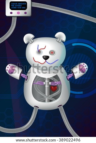 Fantasy futuristic hi-tech illustration of a bionic robot mechanical teddy bear with red heart, cords, charger and other elements