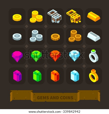 Fantasy game icons set: gems and coins: gold, silver coins, treasure chest, different gems, golden and silver bars, precious rings. Flat stock vector illustration icon set. - stock vector