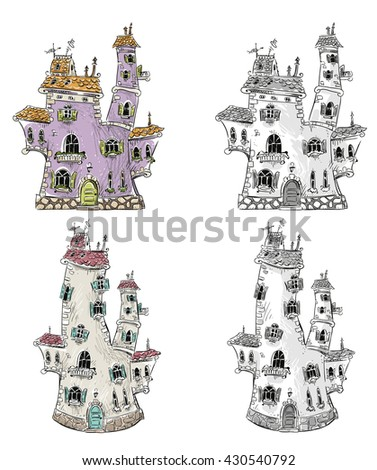 Fantasy houses illustration  - stock vector