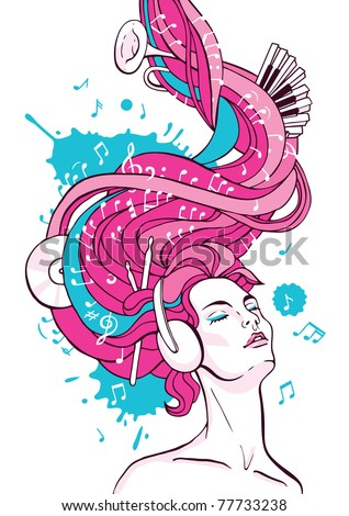 Fantasy illustration of dreaming woman listening music with headphones - stock vector