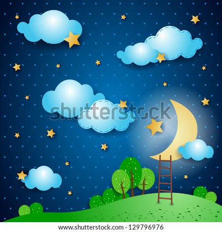 Fantasy landscape at night. Vector illustration - stock vector