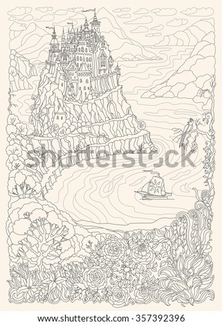 Fantasy landscape. Fairy tale castle on a hill in the mountains .Sea fjord bay, sailing boat, pixie forest, garden roses, lilies. T-shirt print. Album cover. Coloring book page for adults.Black White - stock vector