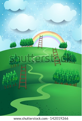 Fantasy landscape, vector illustration - stock vector