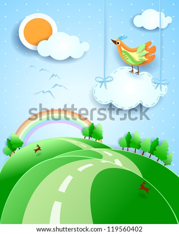 Fantasy landscape with bird, vector - stock vector