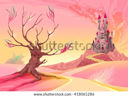 Fantasy landscape with castle. Vector cartoon illustration.