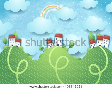 Fantasy landscape with hills and homes, vector illustration  - stock vector