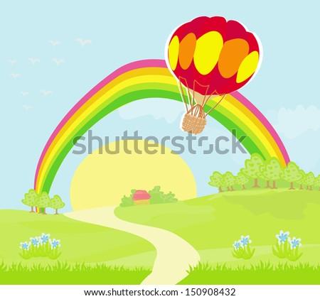 Fantasy landscape with  hot air balloon - stock vector