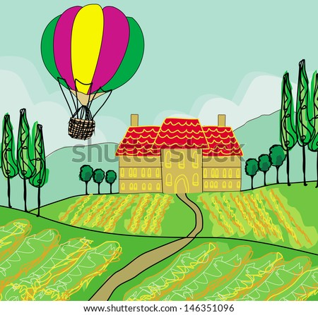 Fantasy landscape with hot air balloons  - stock vector