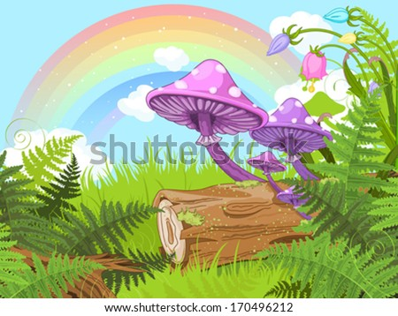 Fantasy landscape with mushrooms and flowers - stock vector