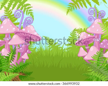 Fantasy landscape with mushrooms, fern, rainbow - stock vector