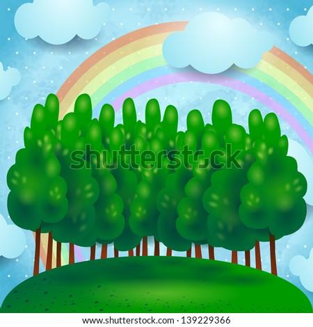 Fantasy landscape with poplar, vector - stock vector