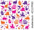 FANTASY, LEGEND, AND IMAGINATION ICONS PATTERN. Childish cute animals pattern. Editable vector illustration file. - stock vector