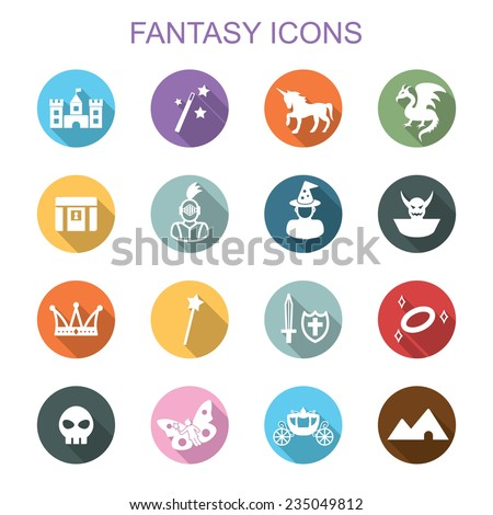 fantasy long shadow icons, flat vector symbols - stock vector