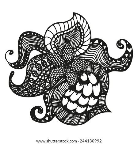 Fantasy pattern in tattoo style, hand drawn vector illustration