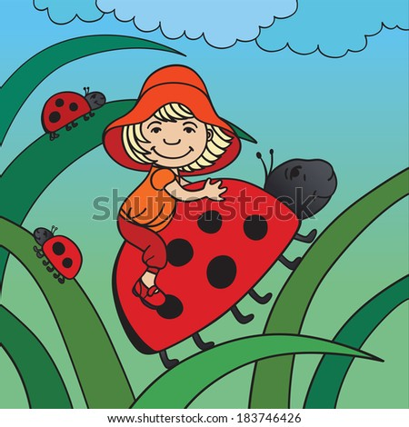 Fantasy pictures with tiny little one and ladybird in a grass - stock vector