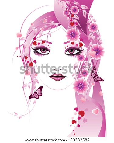 Fantasy portrait of a girl with floral in pink color. - stock vector