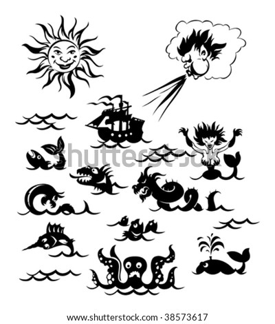 Fantasy sea monsters, Sun, Northwind and sailboat. Vector illustration. - stock vector